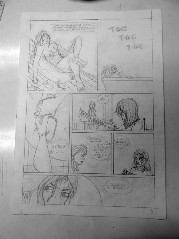 Le crayonné. La dernière case a été faite à la table lumineuse car la version du storyboard était d'un niveau suffisant.