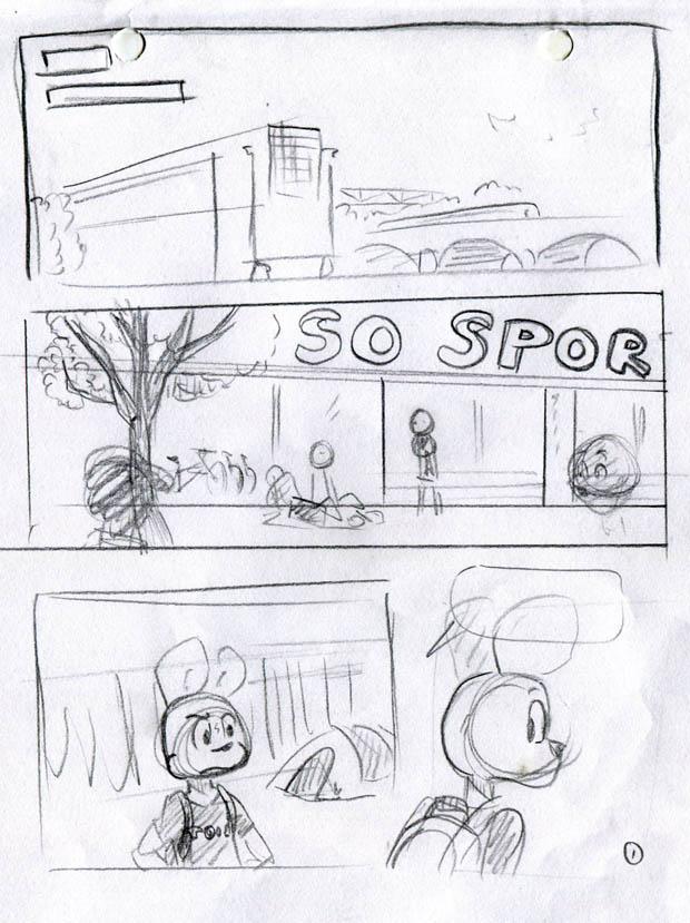 Le storyboard de la première page