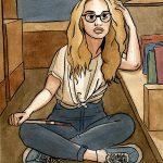 La fille blonde à la bibliothèque